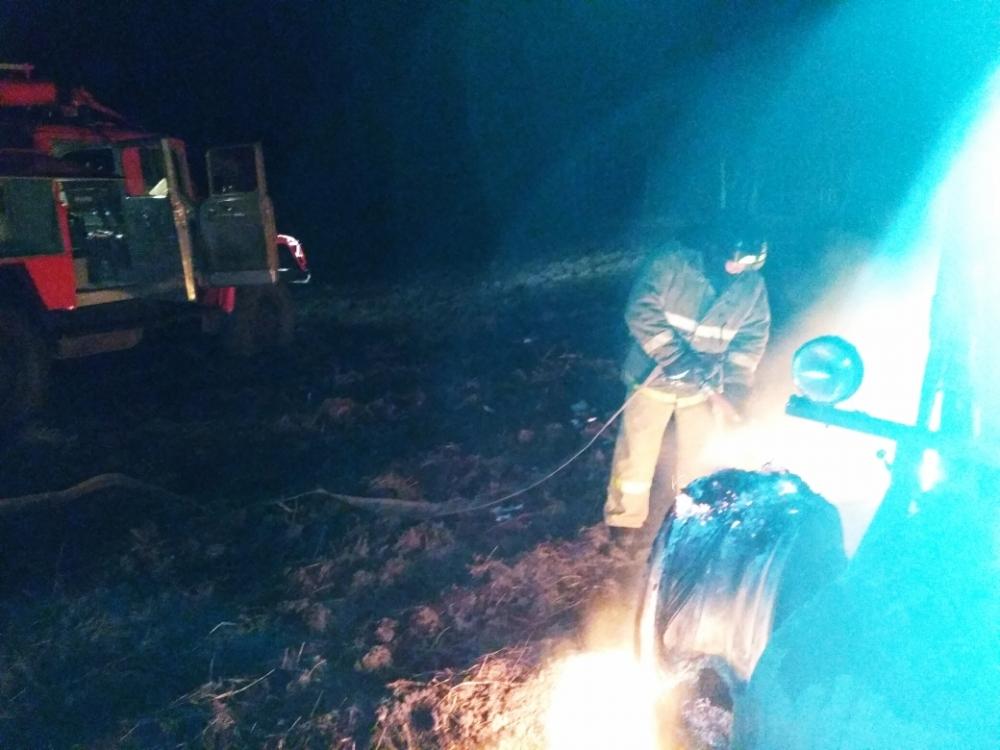 пожар трактор