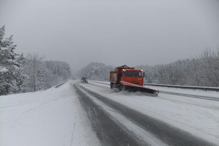 трасса снег техника
