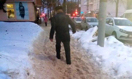 снег, тротуар