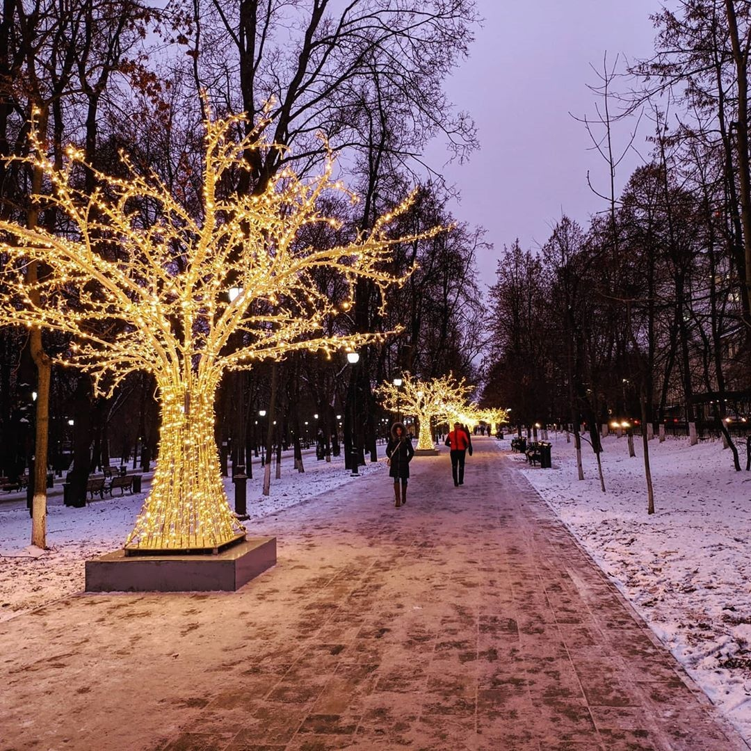 парк, иллюминации, фонарики