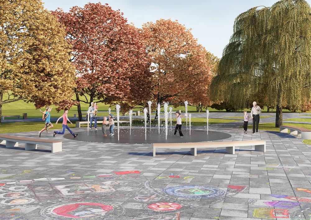 фонтан, детский парк