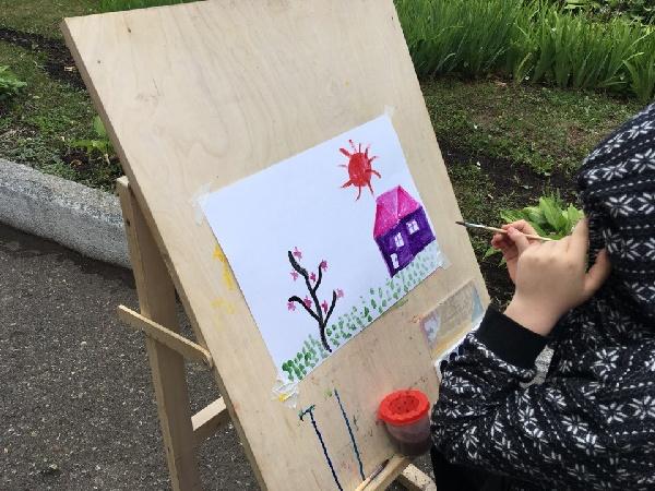 рисование, ребенок, дом