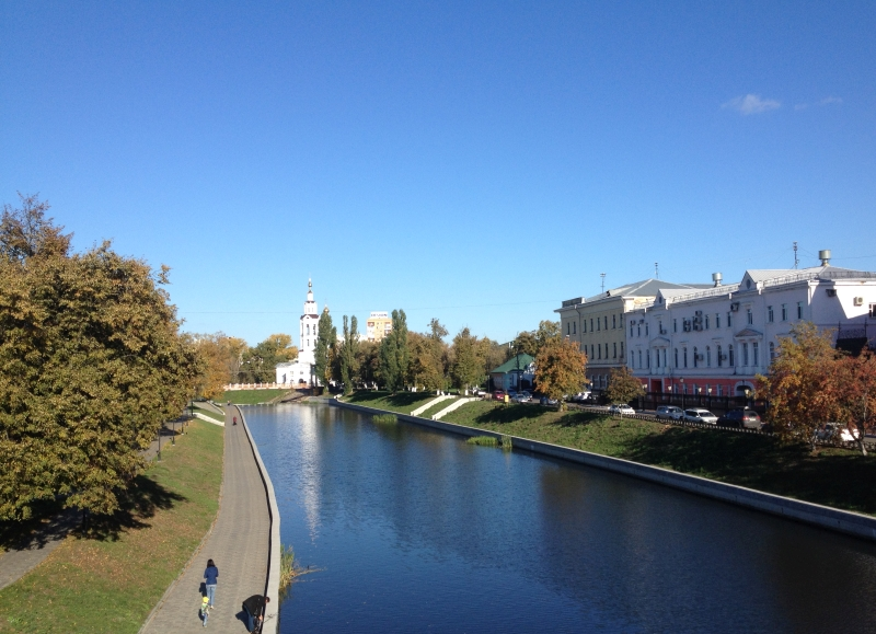 осень, набережная, погода, солнце