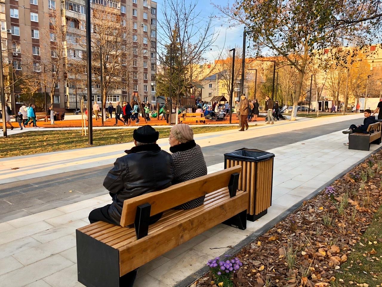 пенсионеры, парк, сквер, лавочка, люди, осень