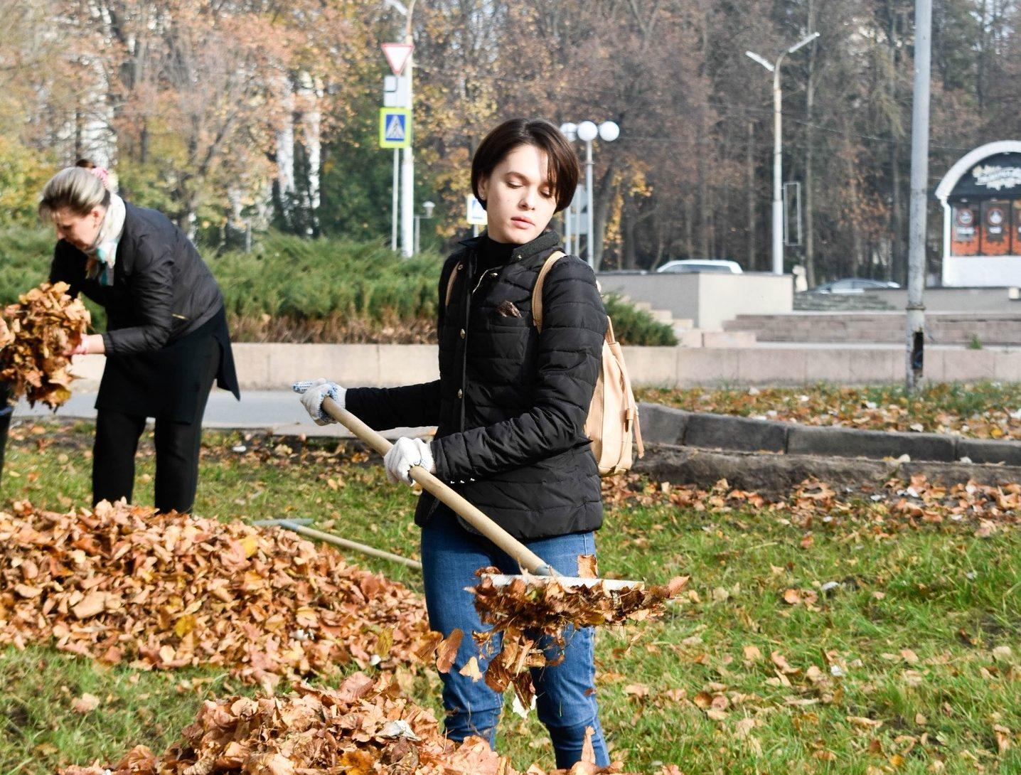 субботник, уборка, листья, осень, парк
